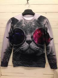 space galaxy 3d animal sweatshirts cat sweaters hoodies top