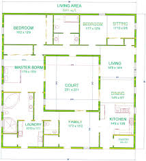 rectangle house floor plans center courtyard house plans with 2831 square feet this is one