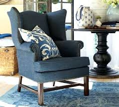 blue wingback chair thatcher upholstered c wing recliner
