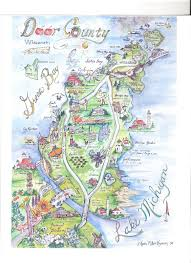 Wisconsin Road Map Door County Map Artists Pinterest Door County Map Door