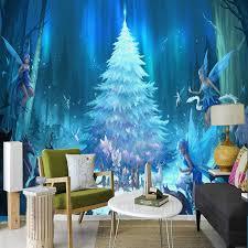 custom 3d stereo fluorescent tree photo mural wallpaper