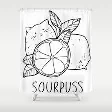 Sourpuss Shower Curtain Sour Shower Curtains Society6
