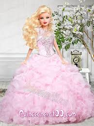baby pink quinceanera dress for barbie doll with beading and