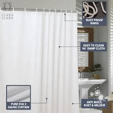 pure eva bathroom shower curtain water repellent with 12 grommets