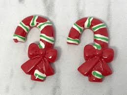 32 23mm red candy cane resins candy canes 3d resins christmas