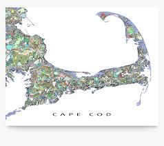 Cape Cod Cape Cod Map Cape Cod Art City Map Print Street Art Map
