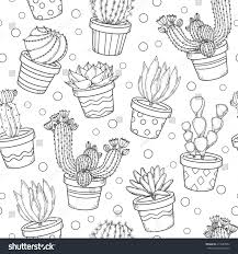 cactus succulent contour seamless pattern doodle stock vector