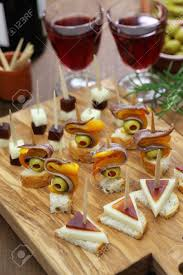 canapes finger food finger food tapas pinchos canapes stock photo