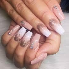 imagenes de uñas acrilicas con pedreria uñas acrílico nude con blanco gliter y pedrería uñas pinterest