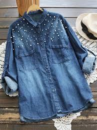 denim blouses pocket sleeve denim blouses cheap newchic
