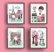 paris art paris decor baby nursery art decor pink mint