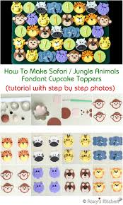 how to make safari jungle animals fondant cupcake toppers