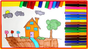 how to draw and paint house tree in the garden learn colors