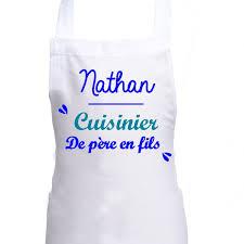 tablier cuisine enfant personnalisé tablier de cuisine enfant personnalisé blanc père fils