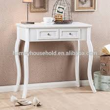Accent Console Table White Finish Curved Legs Accent Console Sofa Table With Two Drawer