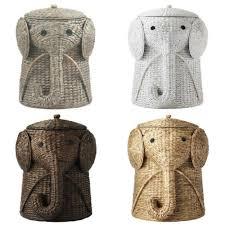 elephant hamper wicker laundry basket clothes bin lid woven decor