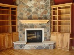 simple large stone fireplace designs for corner modern rustic