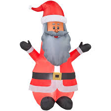 Lowes Lighted Christmas Decorations by Shop Gemmy Inflatable Airblown African American Santa Outdoor