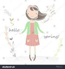 Cards Invitation Illustration Little Flowers Her Hair Stock Vector 628461044