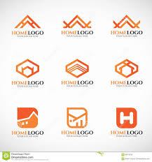 orange home logo vector set art design stock vector image 66078725