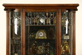 sold curved glass 1900 antique oak china cabinet curio display