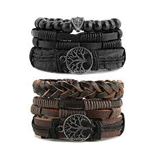 leather bracelet with buckle images Hzman mix 6 wrap bracelets men women hemp cords wood beads ethnic jpg