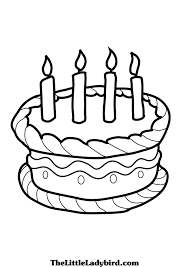 Cake Coloring Page Vitlt Com Birthday Cake Coloring Pages