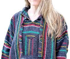 Mexican Rug Sweater Shop Baja Hoodie Charcoal Rasta Hippies Com