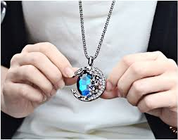 sapphire chain necklace images The vampair daries women chic sapphire moon pendants necklace long jpg