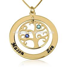 Gold Personalized Name Necklace New Dubai Gold Jewelry Design 24k Gold Plated Family Tree Pendant