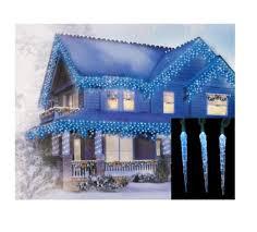 set of 10 blue u0026 white color changing led icicle christmas lights