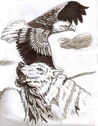 eagle and wolf by oogly4 on deviantart