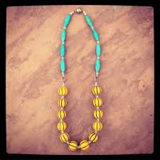 yellow turquoise necklace images Yellow and turquoise necklace looly handmade jpg