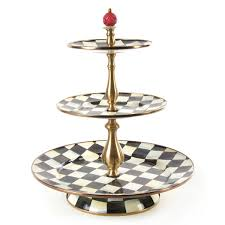 3 tier stand mackenzie childs courtly check enamel 3 tier sweet stand