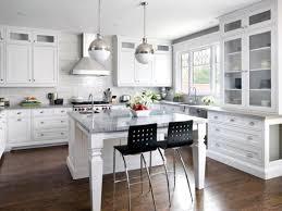 kitchen trendy white shaker kitchen cabinets dark wood floors