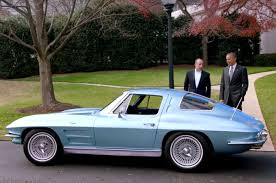 first corvette ever made president obama squeals rubber in a 1963 corvette with jerry seinfeld