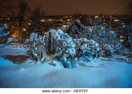 net christmas lights for small bushes small hut and bushes covered with snow on a background of high rise