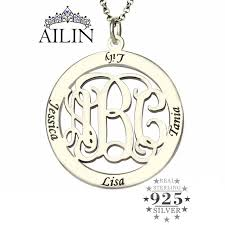 Kids Name Necklaces Aliexpress Com Buy Monogram Family Name Necklace Custom Circle
