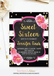 black and white stripe sweet sixteen birthday invitation with pink