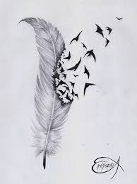 phoenix feather outline tattoo stencil