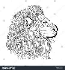 lion head antistress coloring page stock vector 322683179