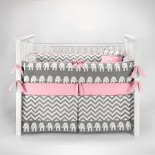 Sofia Bedding Set Elephant Chevron Zig Zag Gray Pink Baby Bedding 5pc Crib Set