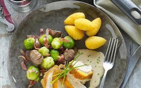 recette de cuisine filet de faisan filets de faisan sauce au cognac et choux de bruxelles croquants