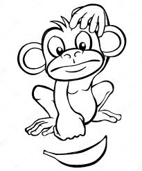 black and white cartoon monkey with banana u2014 stock vector