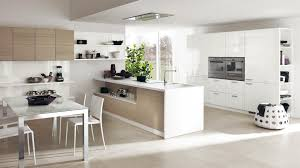 fascinating kitchen layout design with white gloss cabinet storage