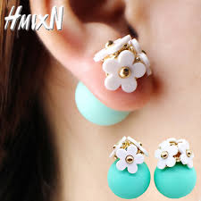 two sided earrings 2016 new fashion flower earrings korea two side