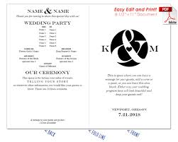 easy wedding program template ampersand and heart wedding program fan cool colors