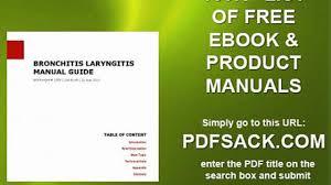 bronchitis laryngitis manual guide video dailymotion
