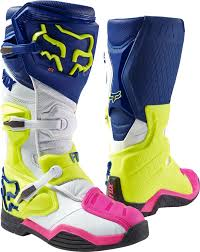 mens motocross boots fox racing mens navy blue white hi vis yellow pink comp 8 dirt
