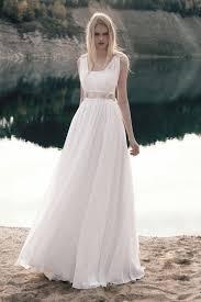 Chiffon Wedding Dresses Informal A Line Sleeveless Floor Length Chiffon Lace Wedding Dress